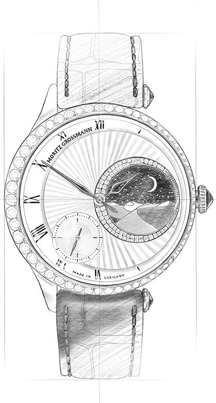 Strichzeichnung von der Jewellery Uhr aus der Tefnut